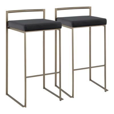 Fuji 30 in. Antique Stackable Bar Stool with Black Velvet Cushion (Set of 2)