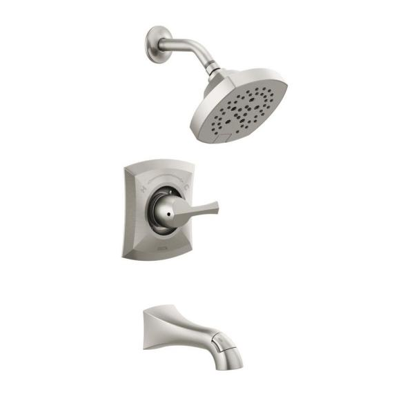Pierce Single-Handle 5-Spray Tub and Shower Faucet in Spot Shield Brushed Nickel (Valve Included)