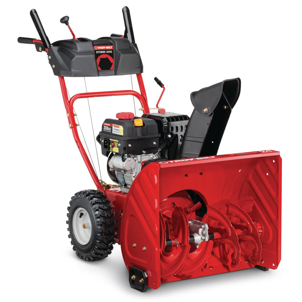 Troy-Bilt 24 in. 208 cc Two-Stage Gas Snow Blower with Electric Start Self  Propelled-Storm 2410 - The Home Depot