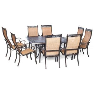 Agio Somerset 9-Piece Aluminum Square Outdoor Dining Set with Cast-Top Table by Agio