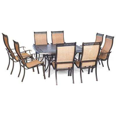 Somerset 9-Piece Aluminum Square Outdoor Dining Set with Cast-Top Table