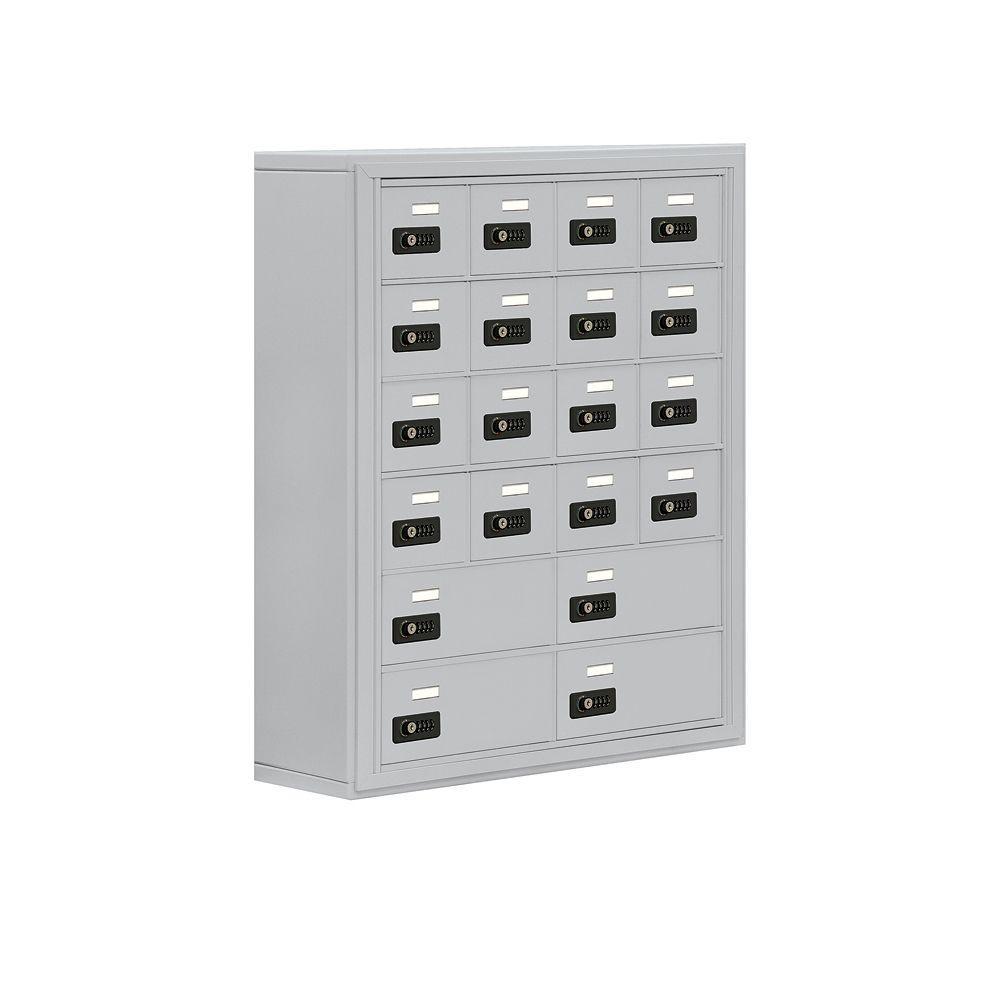 19000 Series 30.5 in. W x 36.5 in. H x 9.25 in. D 16 A/4 B Doors S-Mount Resettable Locks Cell Phone Locker in Aluminum