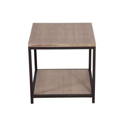 2-Tier Distressed Gray Solid Bamboo Steel Frame End Table