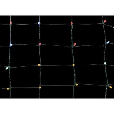 70-Light Concave LED Multi-Color 4 ft. x 4 ft. Twinkling Net Lights