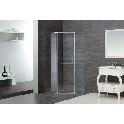 SEN973 38 in. x 38 in. x 75 in. Semi-Framed Neo-Angle Shower Enclosure in Chrome with Clear Glass