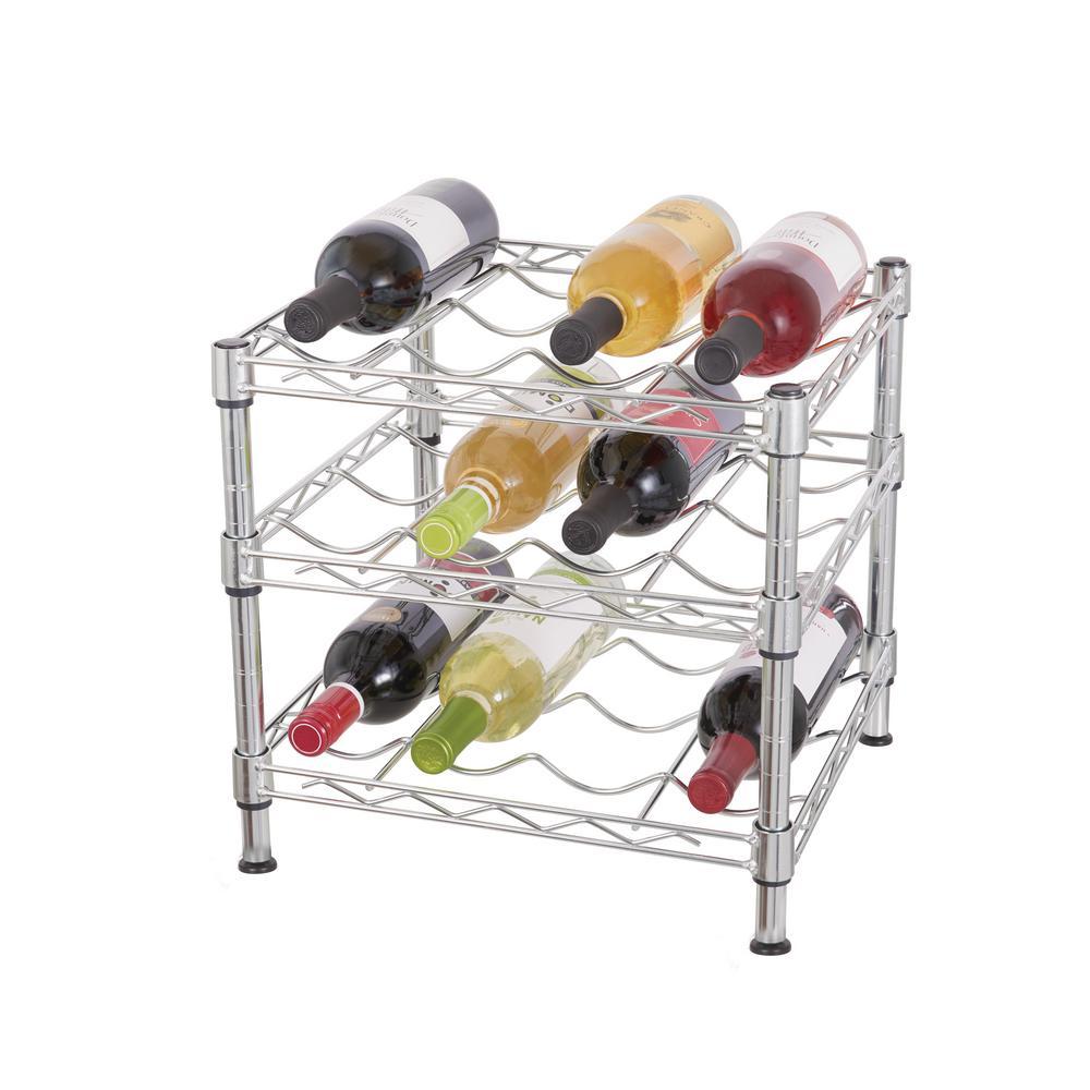 Hdx 3 Tier Wire Countertop Wine Rack In Chrome Hhbfz 2601 The Home