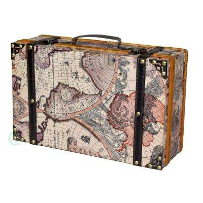 13.8 in. x 8.8 in. x 5 in. Wood and Faux Leather Old World Map Suitcase