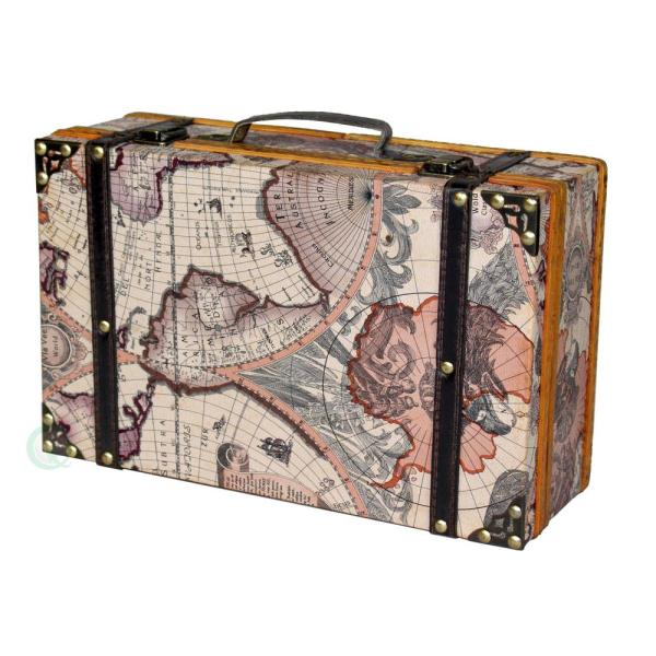 Vintiquewise-13.8 in. x 8.8 in. x 5 in. Wood and Faux Leather Old World Map Suitcase