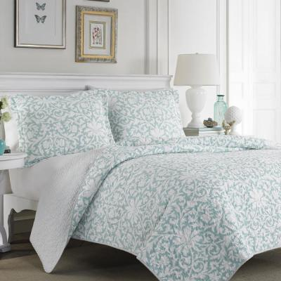 Mia 3-Piece Soft Blue Full/Queen Quilt Set