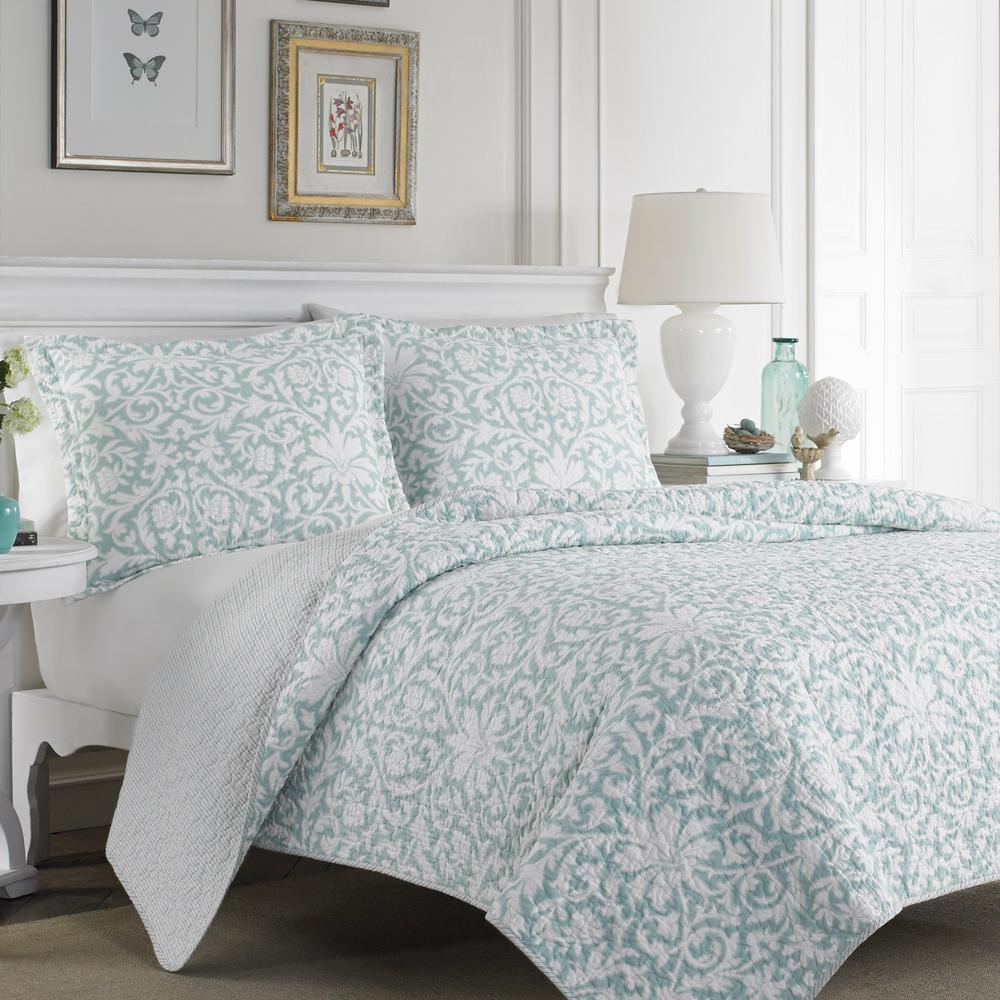 Mia 3-Piece Soft Blue King Quilt Set