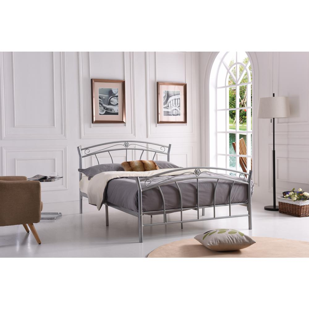 Silver Full-Size Metal Panel Bed with Headboard and Footb...