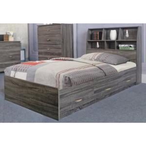 Benzara Grey Finish Twin Size Chest Bed With 3 Drawers On
