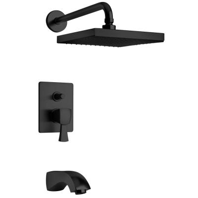 Lady 2-Handle 1-Spray Tub and Shower Faucet with 8 in. Rain Shower Head in Matte Black (Valve Included)