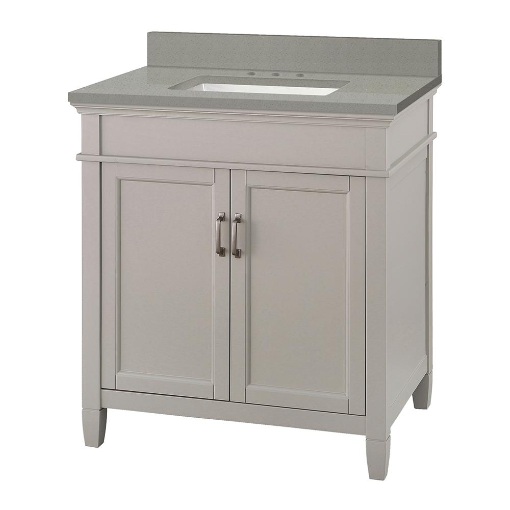 Foremost Ashburn 31 in. W x 22 in. D Vanity Cabinet in Grey with Engineered Quartz Vanity Top in Sterling Grey with White Basin was $699.0 now $489.3 (30.0% off)