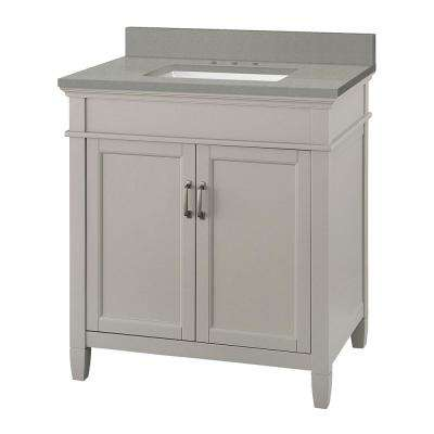 Ashburn 31 in. W x 22 in. D Vanity Cabinet in Grey with Engineered Quartz Vanity Top in Sterling Grey with White Basin
