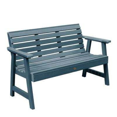 Weatherly 48 in. 2-Person Nantucket Blue Recycled Plastic Outdoor Garden Bench