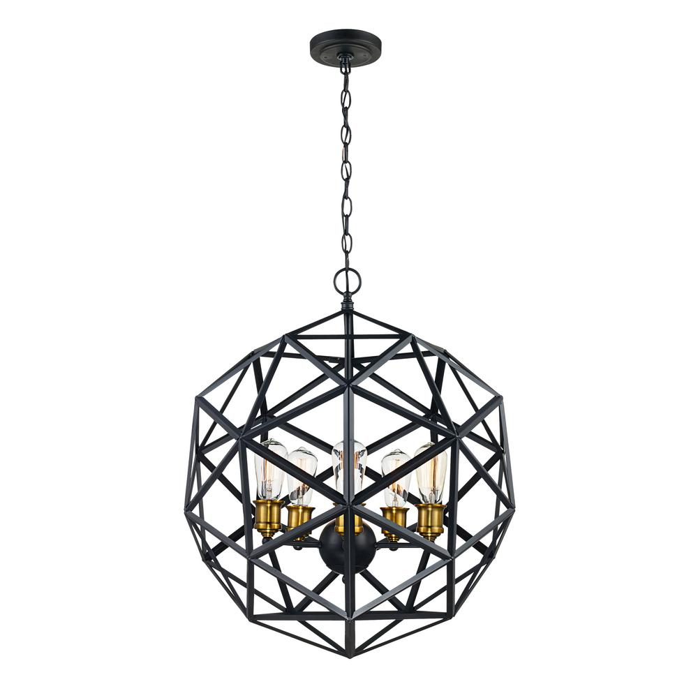 Cyrus 5-Light Rubbed Oil Bronze Pendant