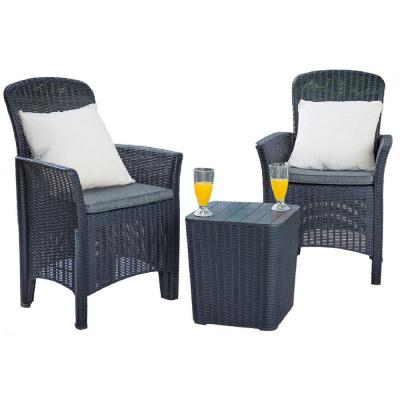 Black 3-Piece Plastic Outdoor Bistro Set with Luxury Grey Seat Cushions