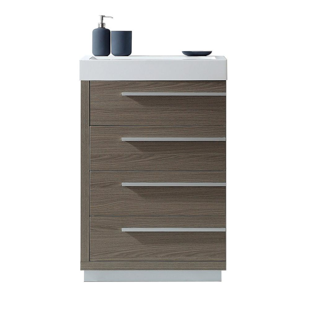 Virtu USA Bailey 24 in. W Bath Vanity in Gray Oak with Polymarble Vanity Top in White Polymarble with Square Basin