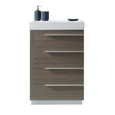 Bailey 24 in. W Bath Vanity in Gray Oak with Polymarble Vanity Top in White Polymarble with Square Basin