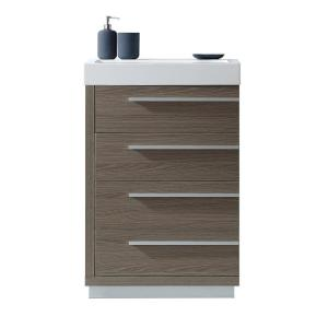 Virtu USA Bailey 24 inch W x 19 inch D Vanity in Grey Oak with Poly-Marble Vanity Top in White with White Square Basin by Virtu USA