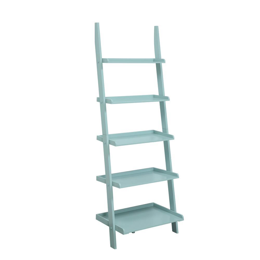 American Heritage 72 in. H Sea Foam Wood 5-Shelf Ladder Bookcase