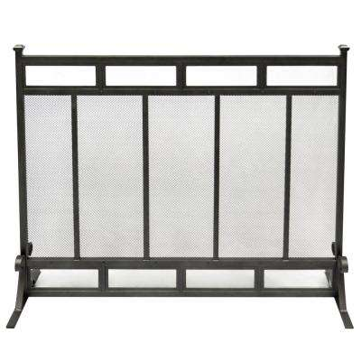Atticus 1-Panel Fireplace Screen in Gun Metal Gray