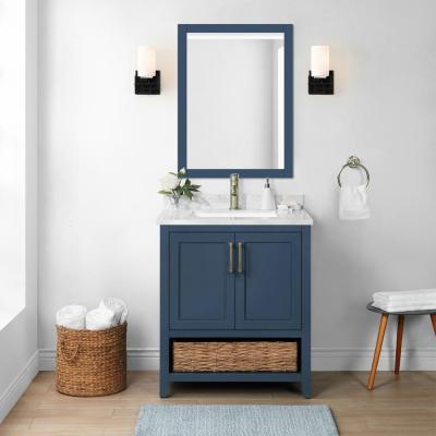 Newhall 30 in. W x 22 in. D Bath Vanity in Grayish Blue with Cultured Marble Vanity Top in White with White Basin