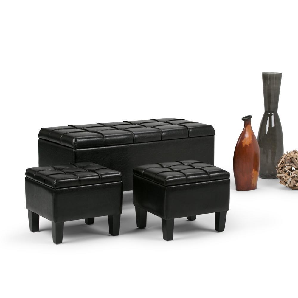 Simpli Home Dover Midnight Black Ottoman Bench-AXCOT-238-BL - The ...