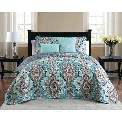 Odette 5-Piece Teal King Quilt Set