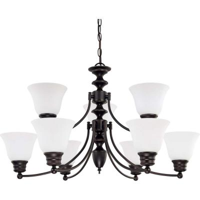 9-Light Mahogany Bronze Chandelier with Frosted White Glass Shade