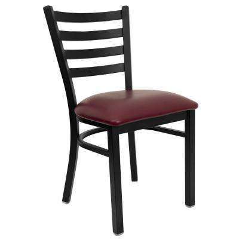 Hercules Series Black Ladder Back Metal Restaurant Chair with Burgundy Vinyl Seat