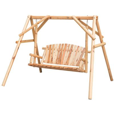 2-Person Wooden A-Frame Outdoor Log Wood Chair Bench Patio Swing