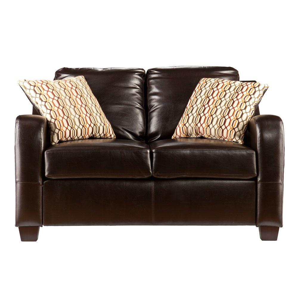 Southern Enterprises Donatello Leather Stationary Loveseat in Brown