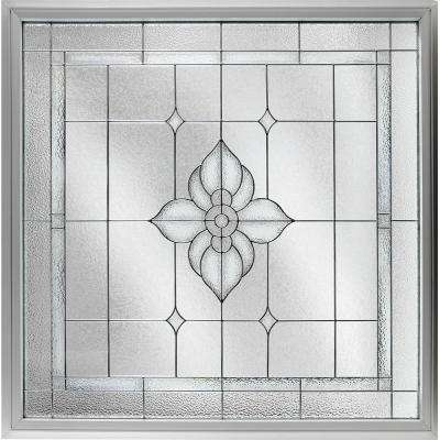 47.5 in. x 47.5 in. Decorative Glass Fixed Vinyl Glass Block Window in White
