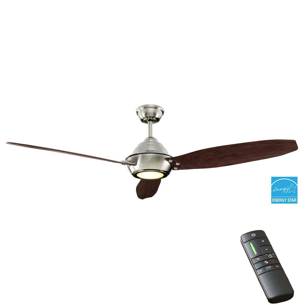 Home Decorators Collection Aero Breeze 60 In Integrated Led Indoor Outdoor Brushed Nickel