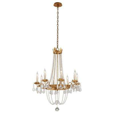 Viola 8-Light Distressed Gold Leaf Chandelier