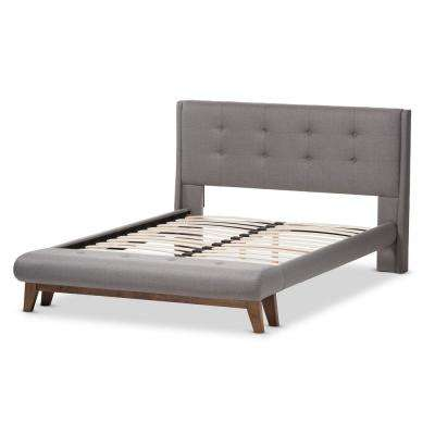 Reena Gray Fabric Upholstered Full Platform Bed