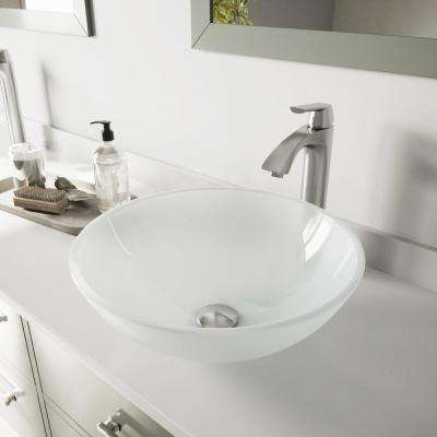 Glass Vessel Bathroom Sink in White Frost and Linus Faucet Set in Brushed Nickel