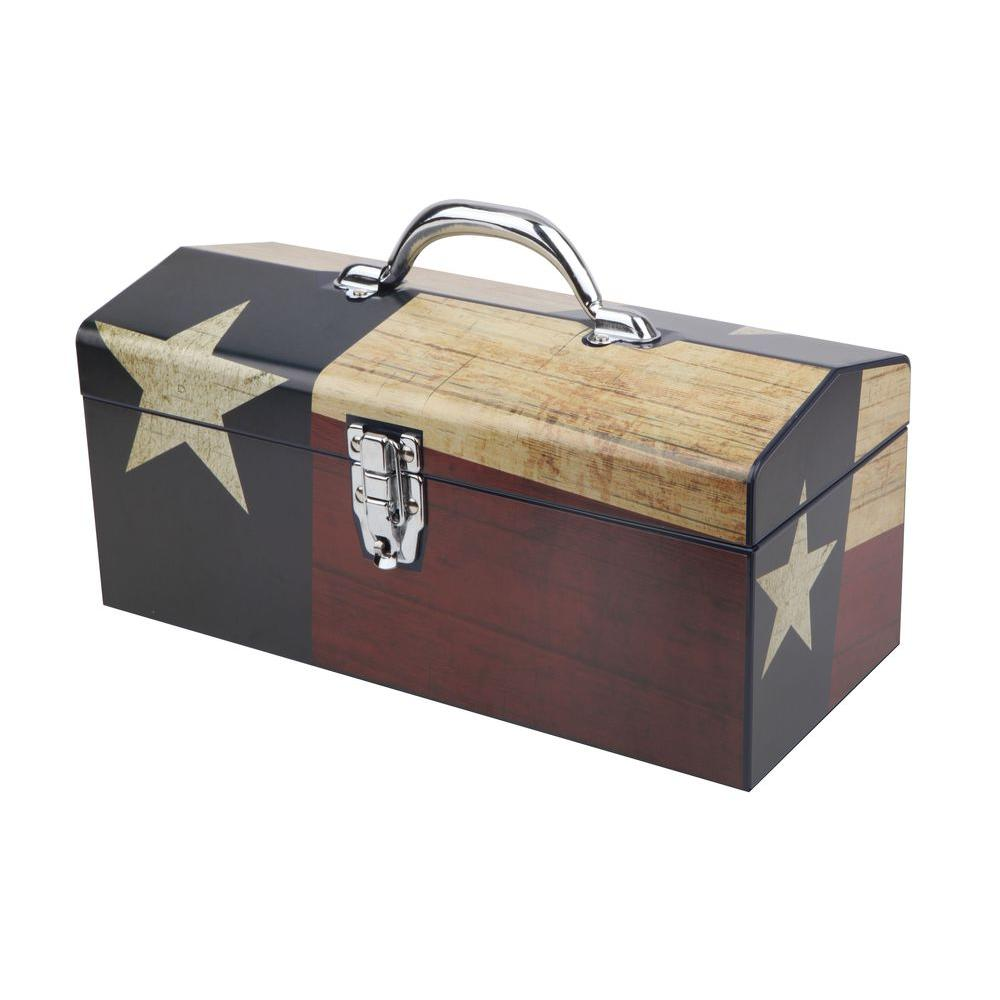 Sainty International 16 in. Texas Flag Art Tool Box