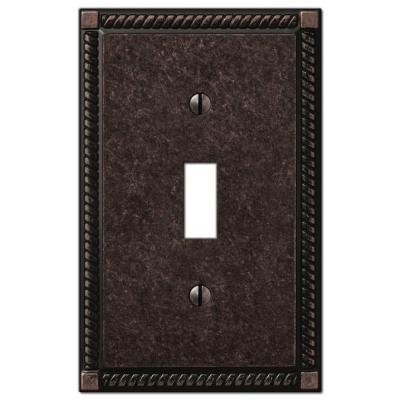 Georgian 1 Gang Toggle Metal Wall Plate - Tumbled Aged Bronze