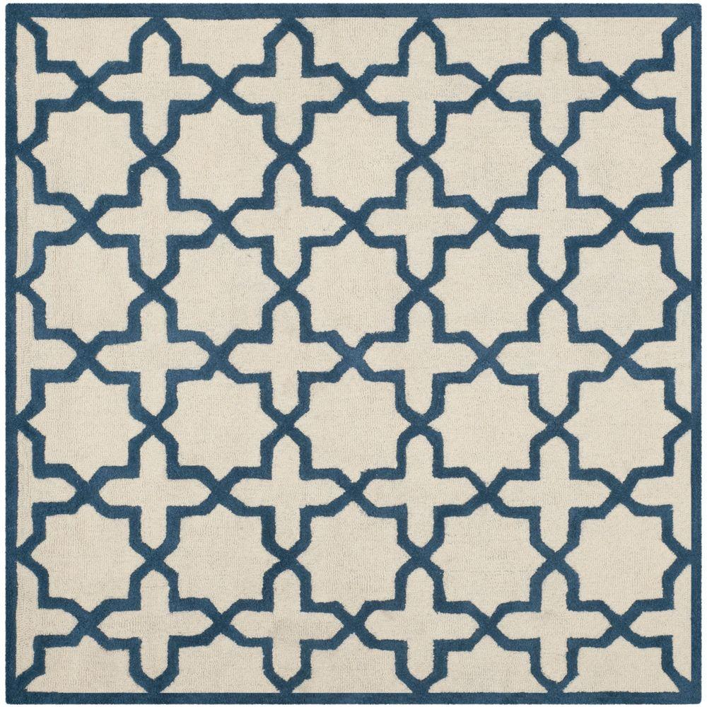 Cambridge Ivory/Navy 6 ft. x 6 ft. Square Area Rug