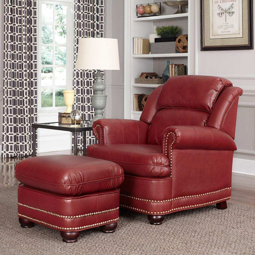 Winston Red Faux Leather Arm Chair With Ottoman