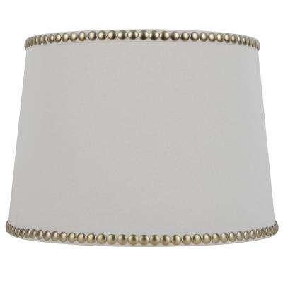 Mix and Match 14 in. Diax 10 in. H Cream with Gold Studs Round Table Lamp Shade