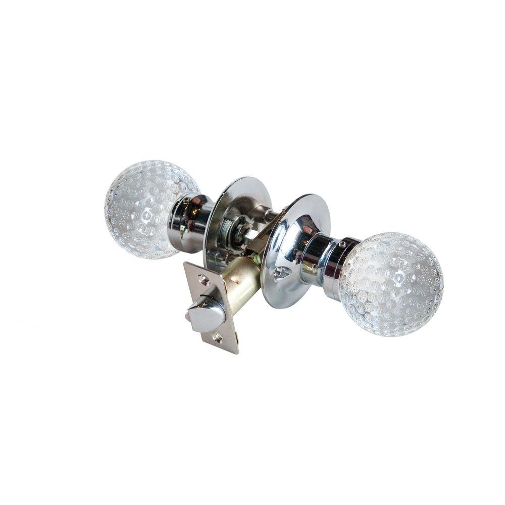 Krystal Touch of NY Golf Ball Crystal Chrome Passive Door Knob with LED Mixing Lighting Touch Activated
