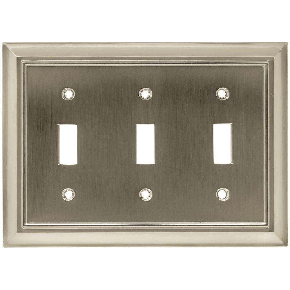 Liberty Architectural 3 Toggle Switch Wall Plate - Satin Nickel