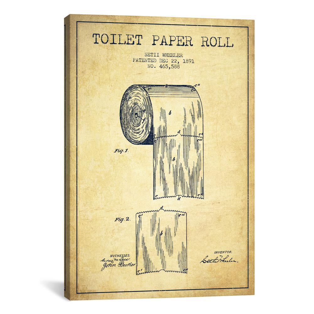 """Toilet Paper Vintage Patent Blueprint"" by Aged Pixel Canvas Wall Art"