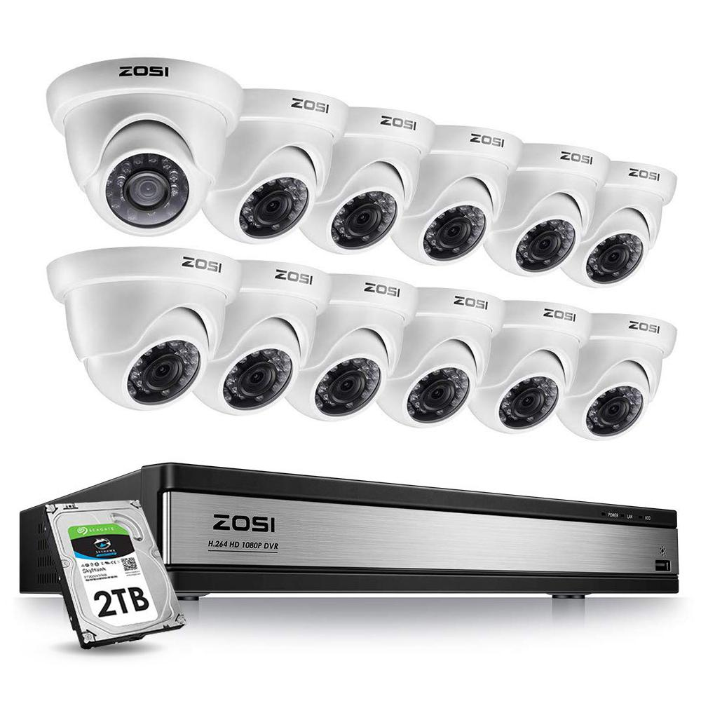 ZOSI 16-Channel 1080p 2TB DVR Security Camera System with 12 Wired Dome Cameras