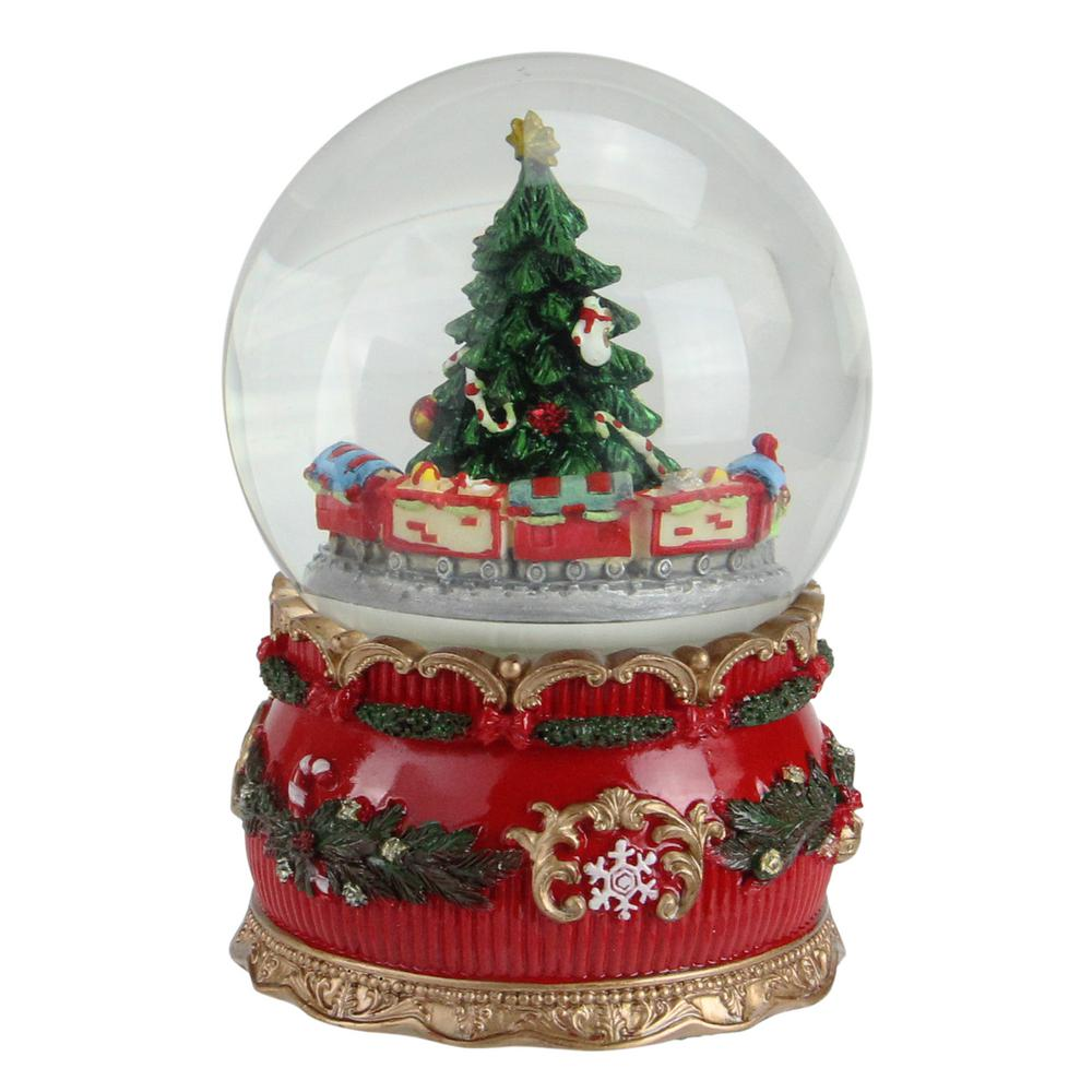 christmas musical tree and train animated water globe table top decoration - Train Under Christmas Tree