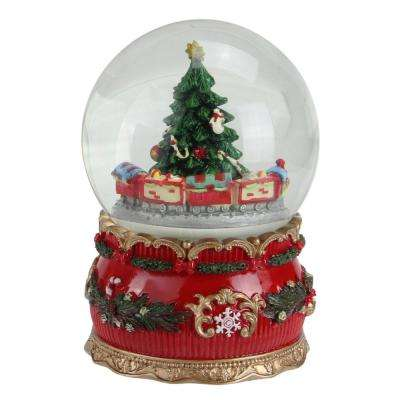 6 in. Christmas Musical Tree and Train Animated Water Globe Table Top Decoration